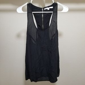 Walter Baker Silk Tank Top Racer back Zipper Black
